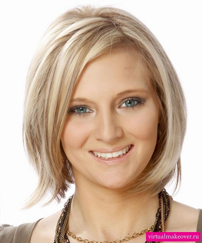 Короткая прическа для круглого лица и тонких волос фото