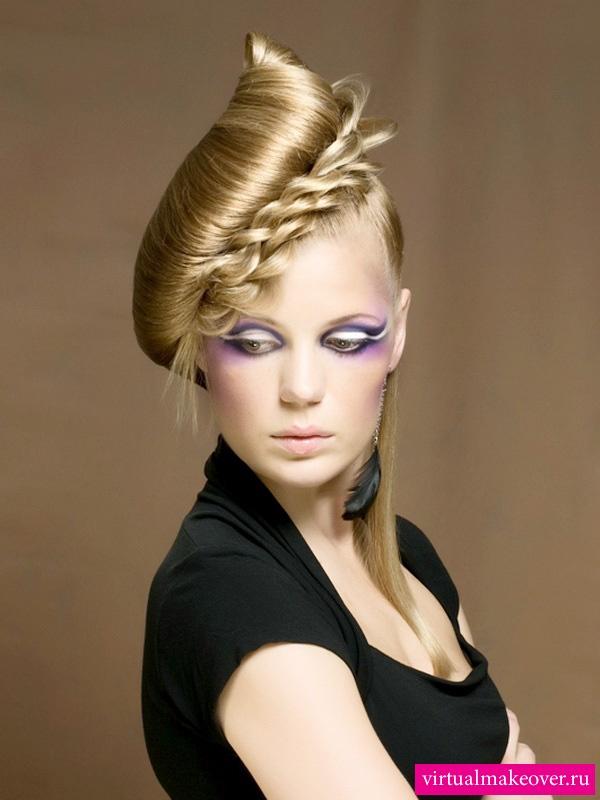 вечерние креативные прически на средние волосы фото