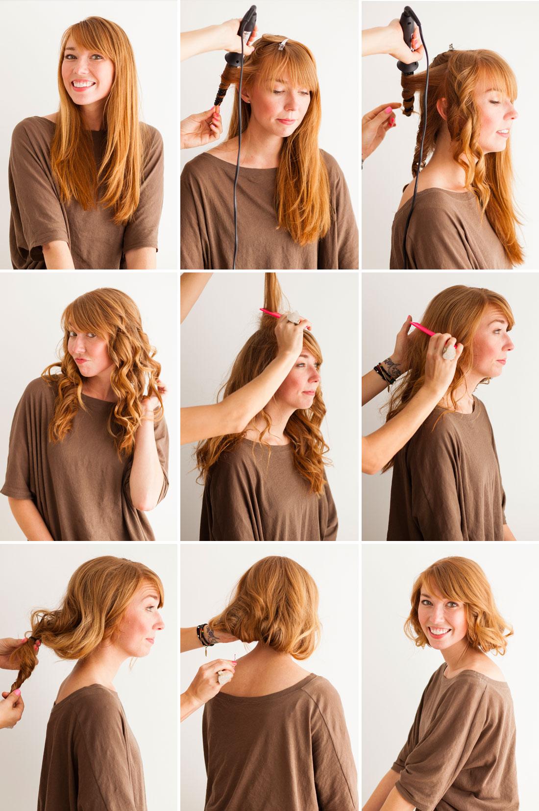 Как уложить длинные волосы в короткую прическу