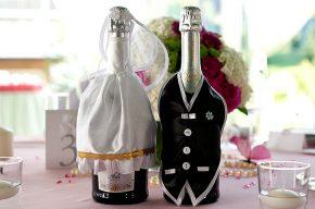 Как украсить бутылку шампанского на свадьбу своими руками фото