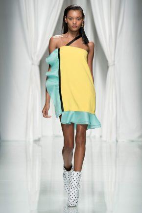 желто-бирюзовое платье