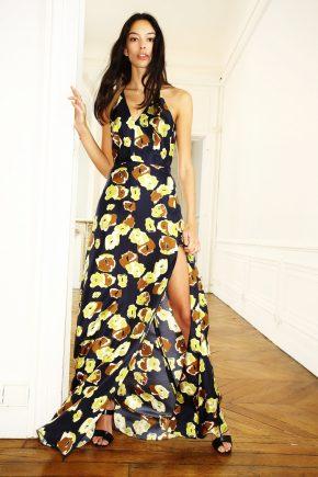 черно-желтое платье с принтом