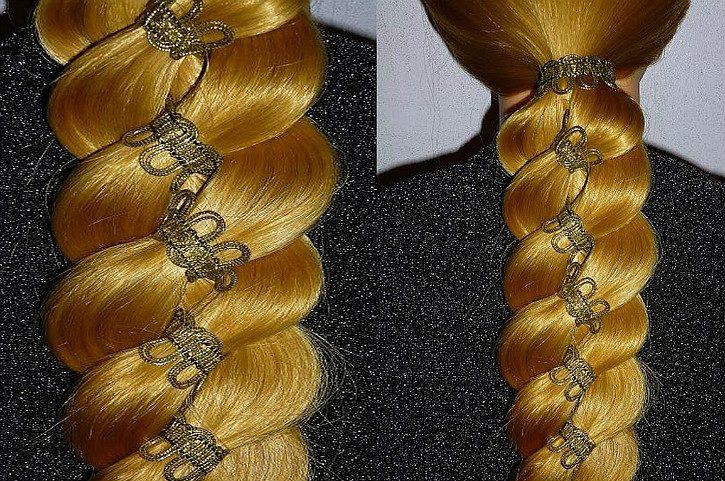 коса на 4 пряди с изящной лентой