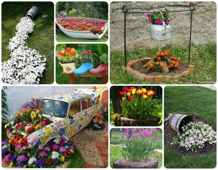 идеи декорирования цветника