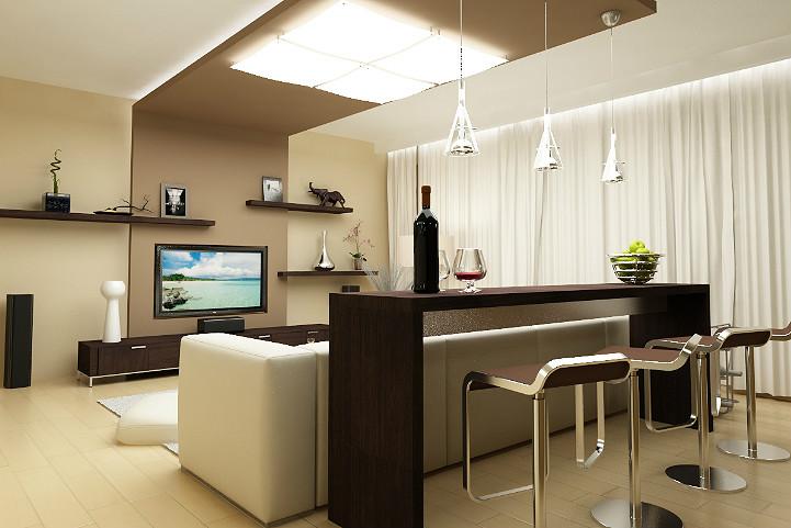 зонирование интерьера кухни и гостиной